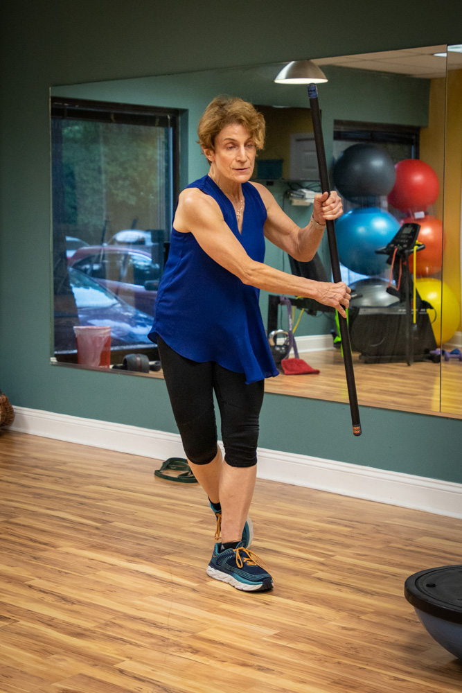 Valerie demonstrating a functional exercise